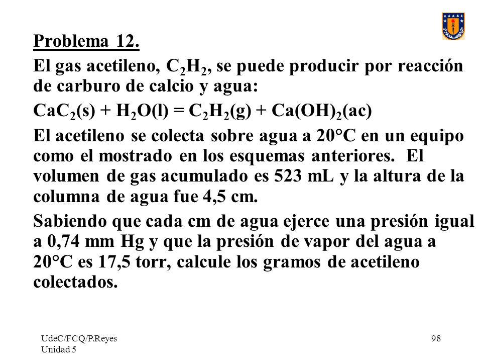 UdeC/FCQ/P.Reyes Unidad 5 98 Problema 12.