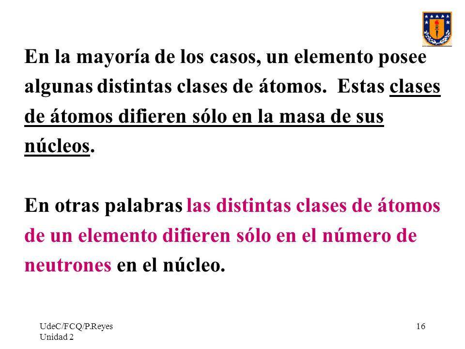 UdeC/FCQ/P.Reyes Unidad 2 16 En la mayoría de los casos, un elemento posee algunas distintas clases de átomos. Estas clases de átomos difieren sólo en