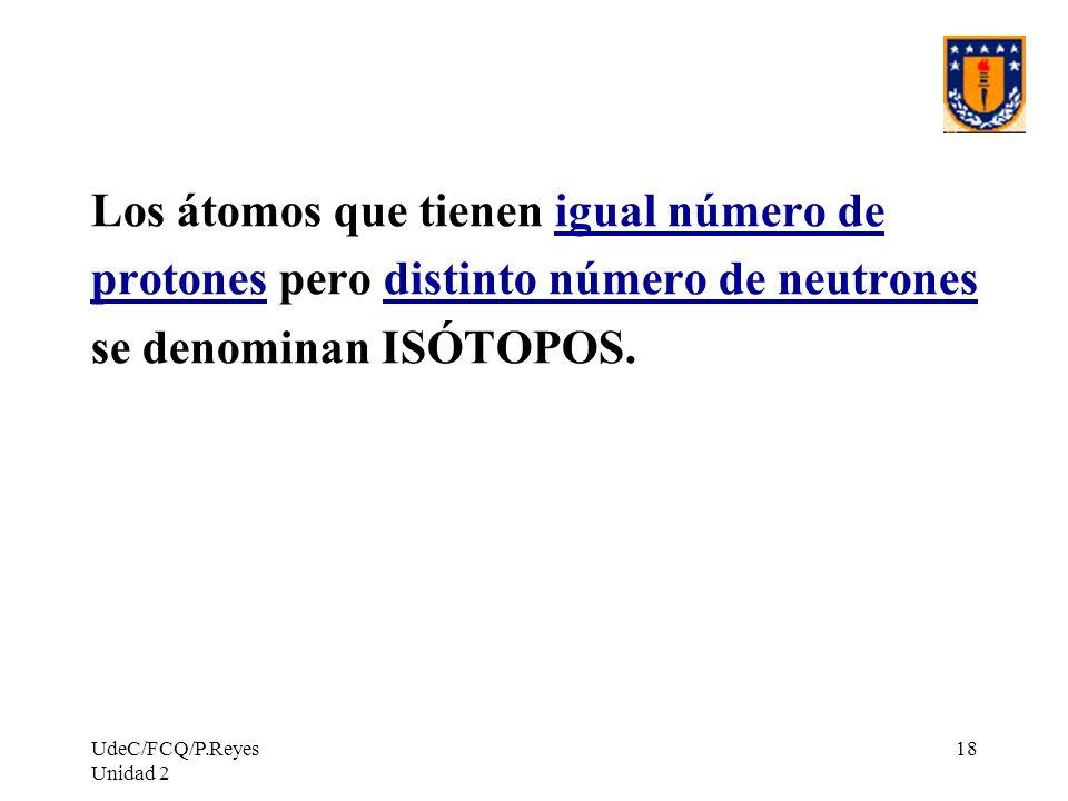 UdeC/FCQ/P.Reyes Unidad 2 18 Los átomos que tienen igual número de protones pero distinto número de neutrones se denominan ISÓTOPOS.