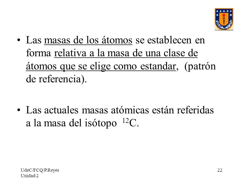 UdeC/FCQ/P.Reyes Unidad 2 22 Las masas de los átomos se establecen en forma relativa a la masa de una clase de átomos que se elige como estandar, (pat