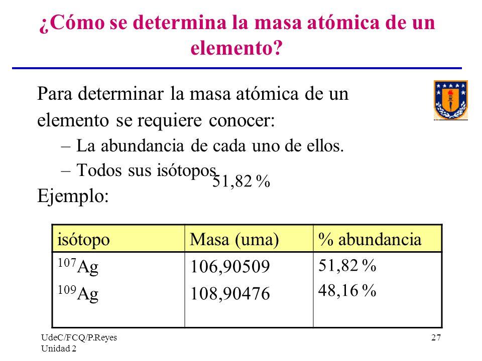 UdeC/FCQ/P.Reyes Unidad 2 27 ¿Cómo se determina la masa atómica de un elemento? Para determinar la masa atómica de un elemento se requiere conocer: –L