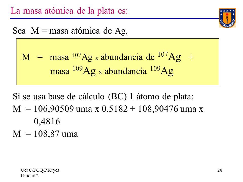 UdeC/FCQ/P.Reyes Unidad 2 28 La masa atómica de la plata es: Sea M = masa atómica de Ag, M = masa 107 Ag x abundancia de 107 Ag + masa 109 Ag x abunda