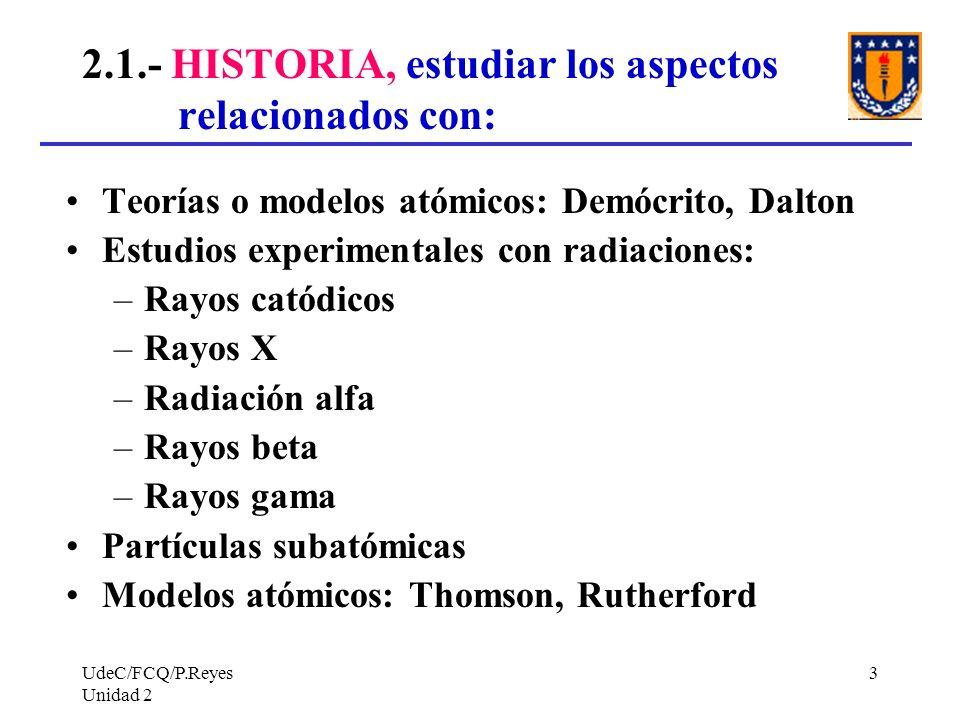UdeC/FCQ/P.Reyes Unidad 2 3 2.1.- HISTORIA, estudiar los aspectos relacionados con: Teorías o modelos atómicos: Demócrito, Dalton Estudios experimenta