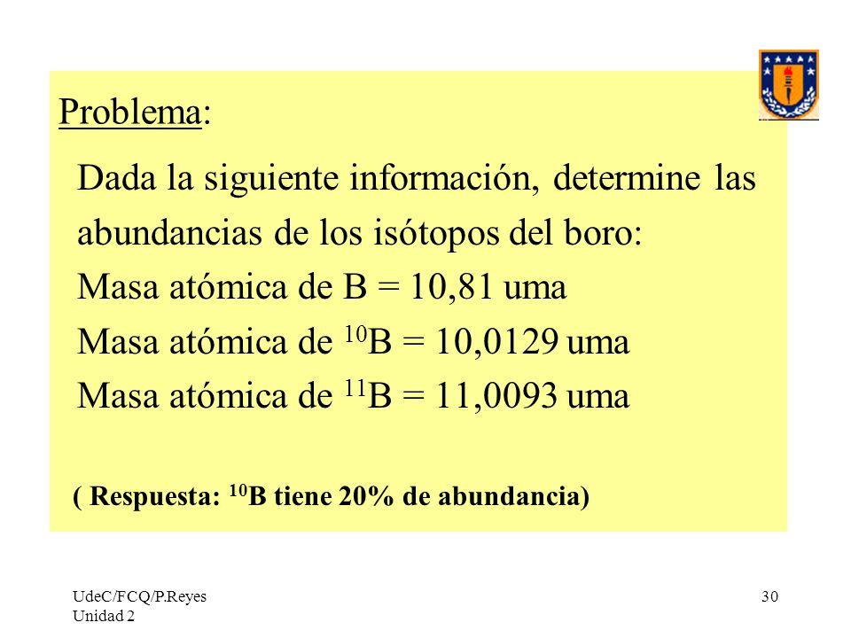 UdeC/FCQ/P.Reyes Unidad 2 30 Problema: Dada la siguiente información, determine las abundancias de los isótopos del boro: Masa atómica de B = 10,81 um