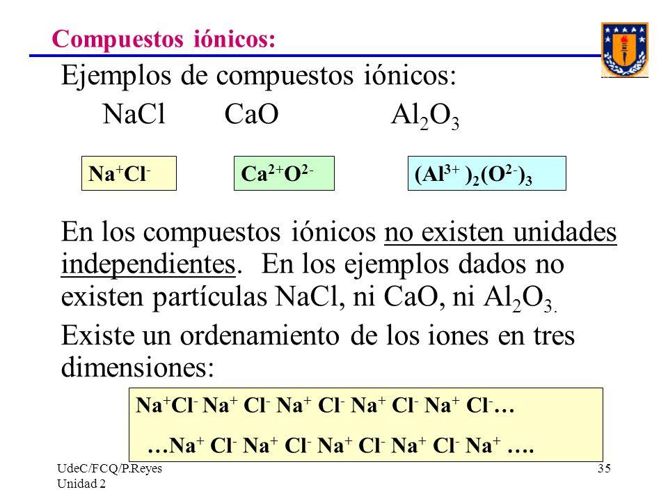 UdeC/FCQ/P.Reyes Unidad 2 35 Compuestos iónicos: Ejemplos de compuestos iónicos: NaCl CaO Al 2 O 3 En los compuestos iónicos no existen unidades indep