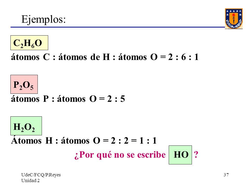 UdeC/FCQ/P.Reyes Unidad 2 37 Ejemplos: C 2 H 6 O átomos C : átomos de H : átomos O = 2 : 6 : 1 P 2 O 5 átomos P : átomos O = 2 : 5 H 2 O 2 Átomos H :