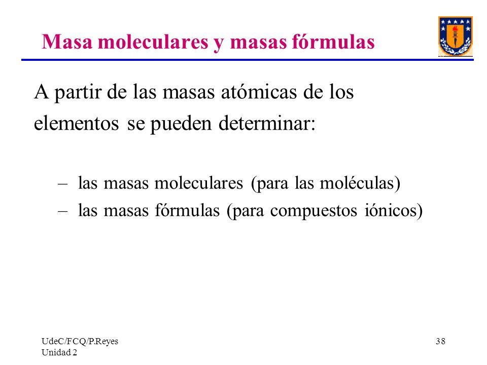 UdeC/FCQ/P.Reyes Unidad 2 38 Masa moleculares y masas fórmulas A partir de las masas atómicas de los elementos se pueden determinar: – las masas molec
