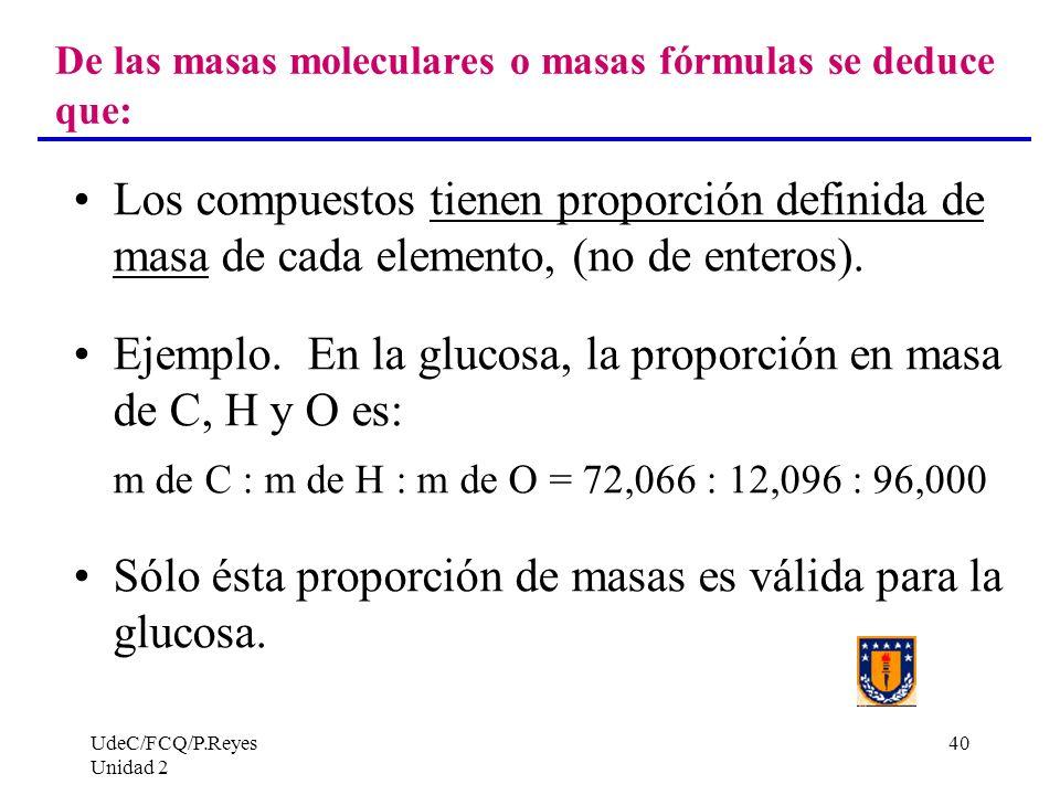UdeC/FCQ/P.Reyes Unidad 2 40 De las masas moleculares o masas fórmulas se deduce que: Los compuestos tienen proporción definida de masa de cada elemen
