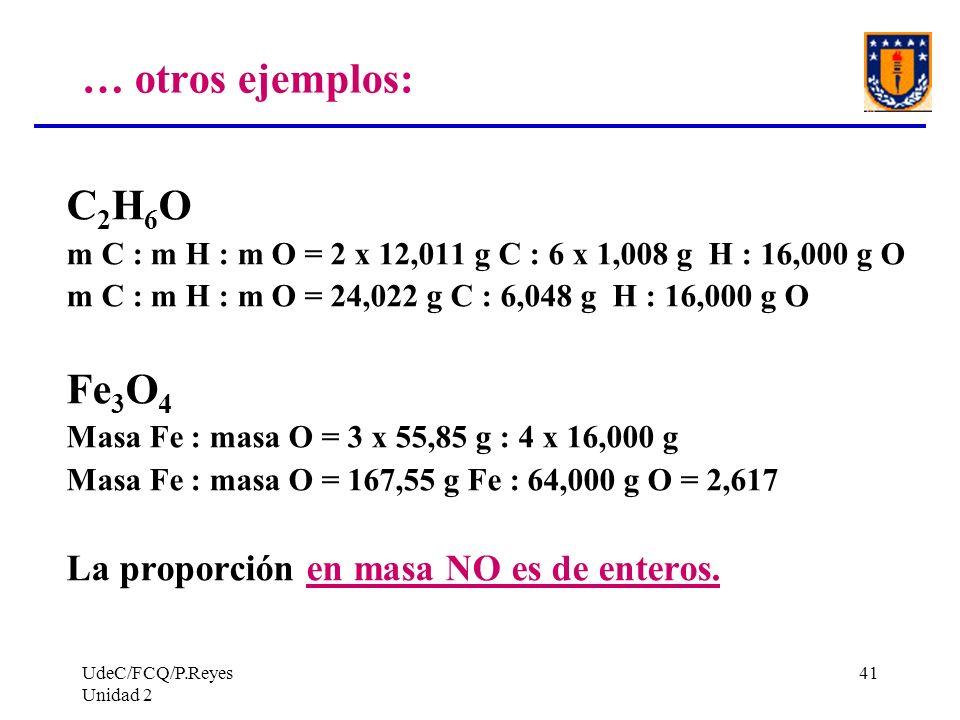UdeC/FCQ/P.Reyes Unidad 2 41 … otros ejemplos: C 2 H 6 O m C : m H : m O = 2 x 12,011 g C : 6 x 1,008 g H : 16,000 g O m C : m H : m O = 24,022 g C :