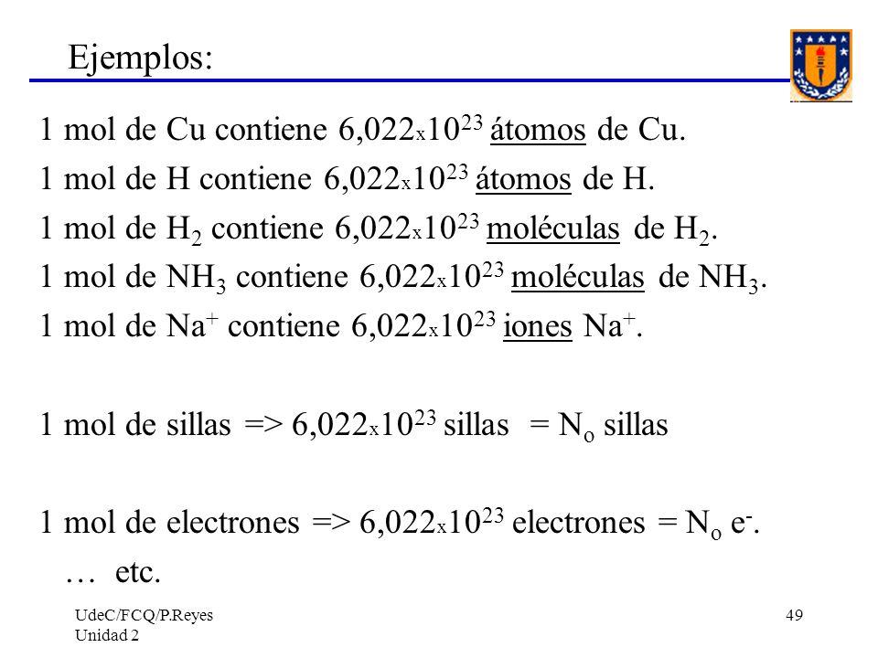 UdeC/FCQ/P.Reyes Unidad 2 49 Ejemplos: 1 mol de Cu contiene 6,022 x 10 23 átomos de Cu. 1 mol de H contiene 6,022 x 10 23 átomos de H. 1 mol de H 2 co