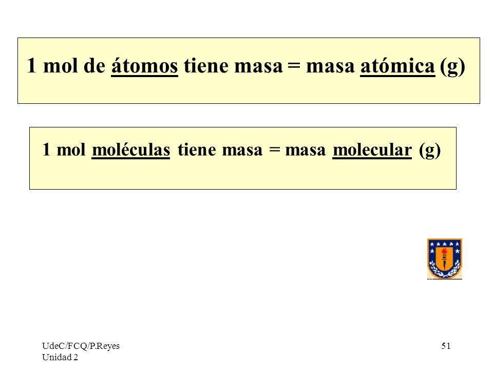 UdeC/FCQ/P.Reyes Unidad 2 51 1 mol de átomos tiene masa = masa atómica (g) 1 mol moléculas tiene masa = masa molecular (g)