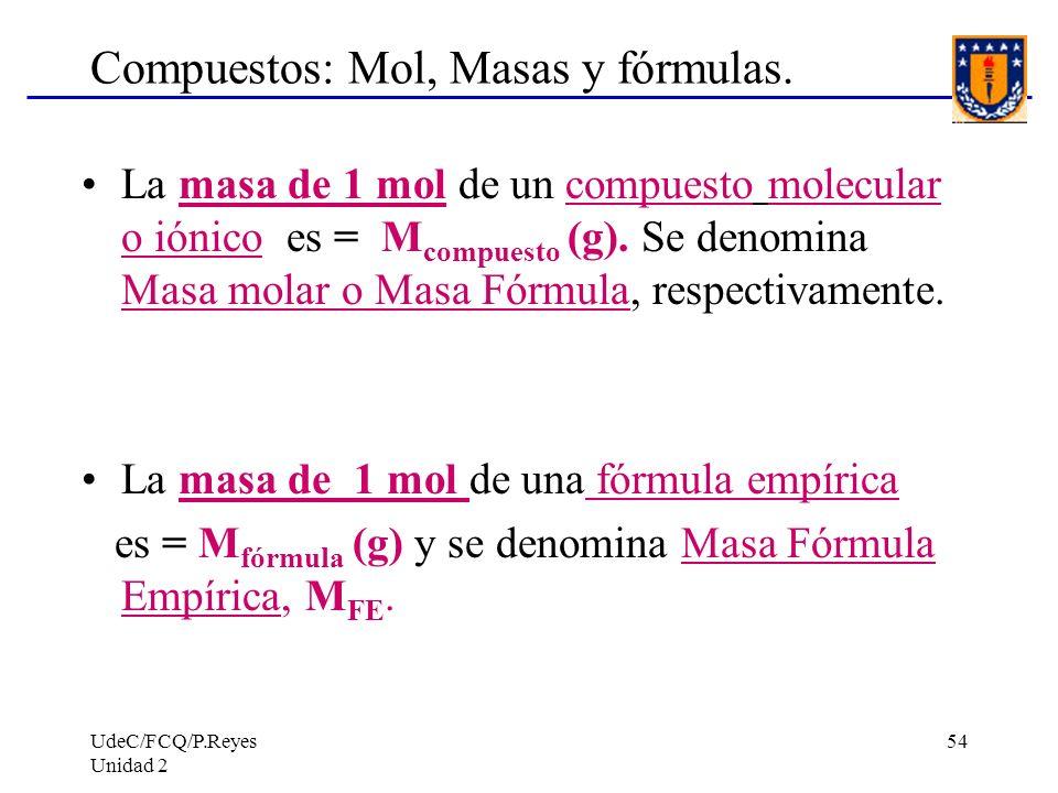 UdeC/FCQ/P.Reyes Unidad 2 54 Compuestos: Mol, Masas y fórmulas. La masa de 1 mol de un compuesto molecular o iónico es = M compuesto (g). Se denomina