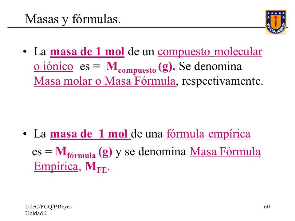 UdeC/FCQ/P.Reyes Unidad 2 60 Masas y fórmulas. La masa de 1 mol de un compuesto molecular o iónico es = M compuesto (g). Se denomina Masa molar o Masa