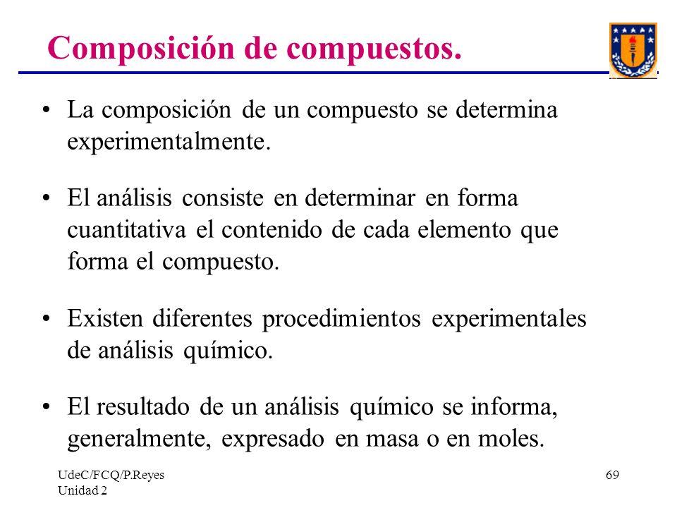 UdeC/FCQ/P.Reyes Unidad 2 69 La composición de un compuesto se determina experimentalmente. El análisis consiste en determinar en forma cuantitativa e