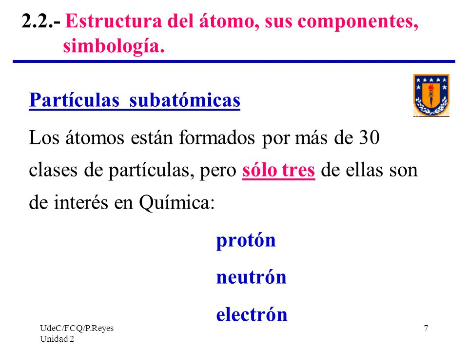 UdeC/FCQ/P.Reyes Unidad 2 7 2.2.- Estructura del átomo, sus componentes, simbología. Partículas subatómicas Los átomos están formados por más de 30 cl