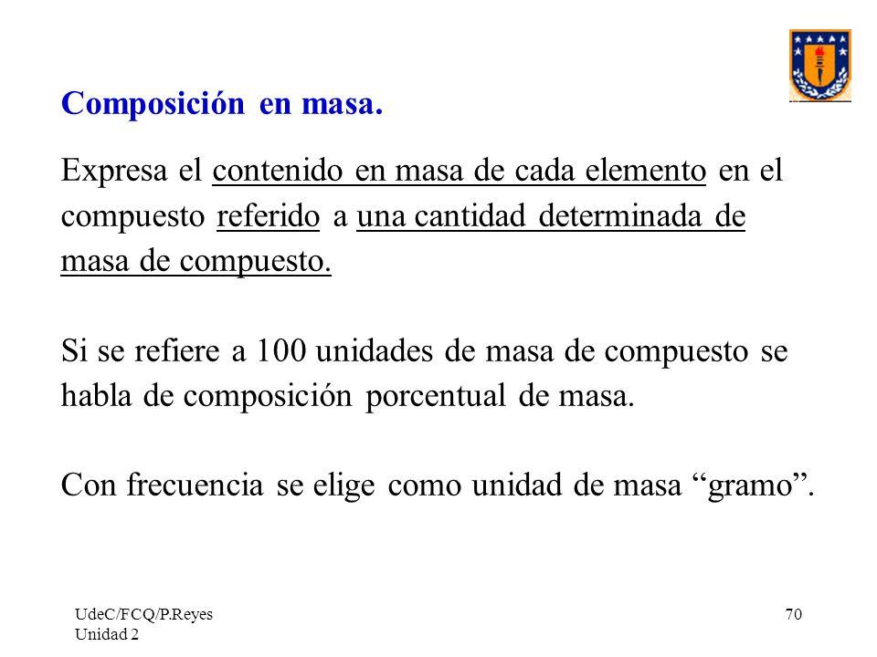 UdeC/FCQ/P.Reyes Unidad 2 70 Composición en masa. Expresa el contenido en masa de cada elemento en el compuesto referido a una cantidad determinada de
