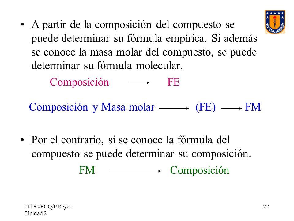 UdeC/FCQ/P.Reyes Unidad 2 72 A partir de la composición del compuesto se puede determinar su fórmula empírica. Si además se conoce la masa molar del c