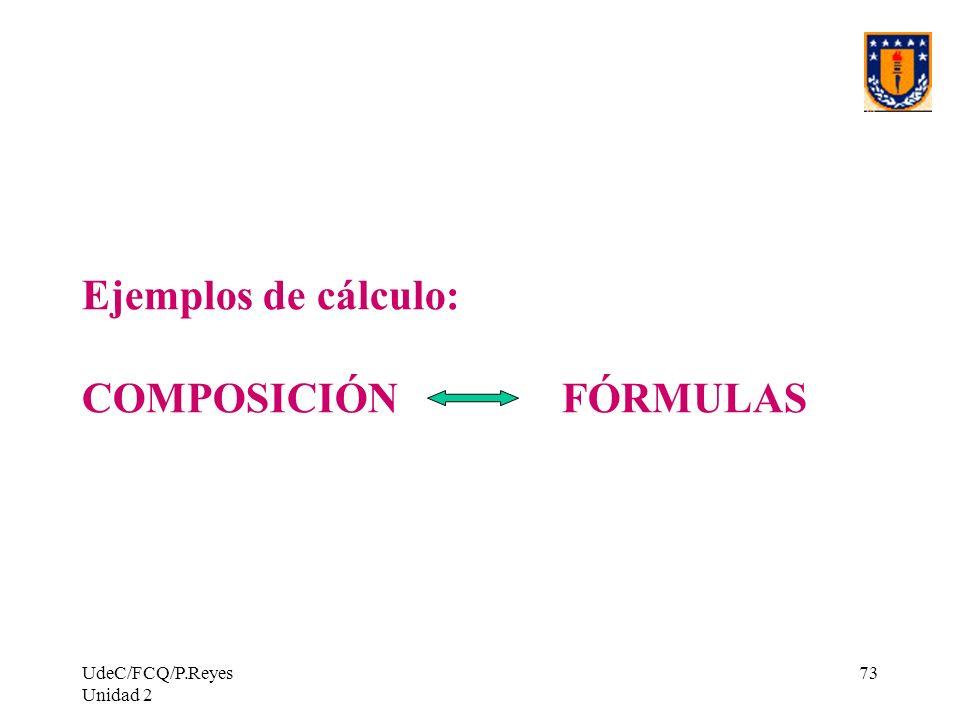 UdeC/FCQ/P.Reyes Unidad 2 73 Ejemplos de cálculo: COMPOSICIÓN FÓRMULAS