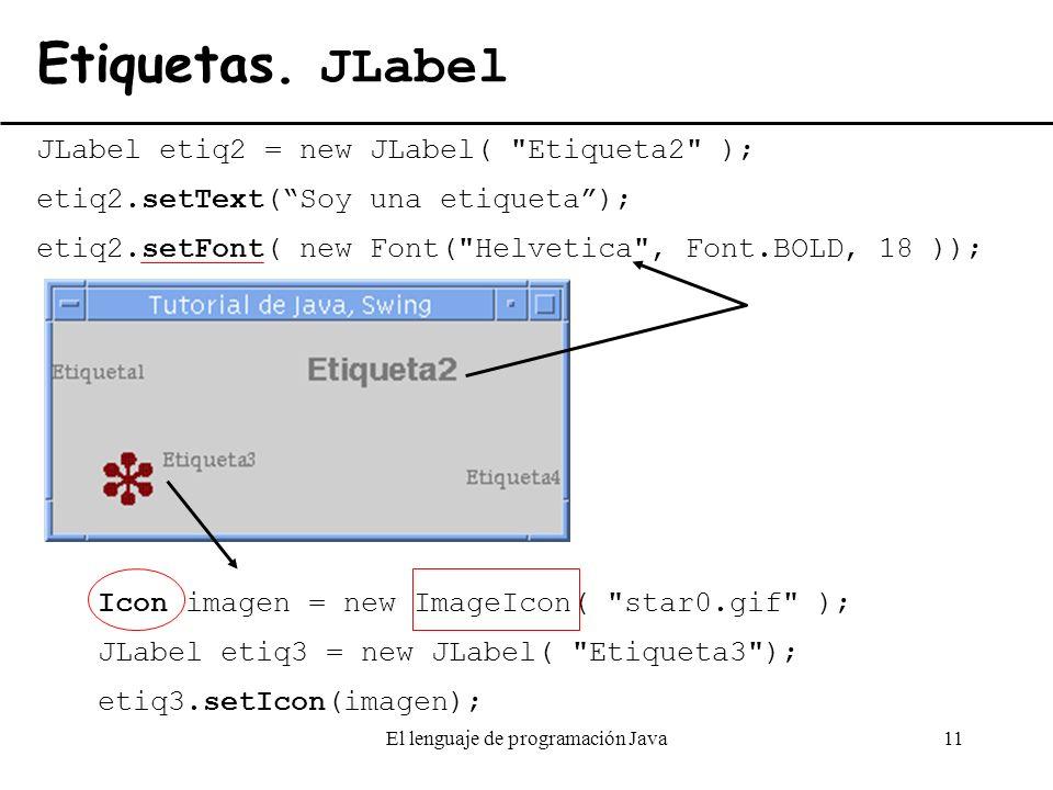 El lenguaje de programación Java11 Etiquetas. JLabel JLabel etiq2 = new JLabel(
