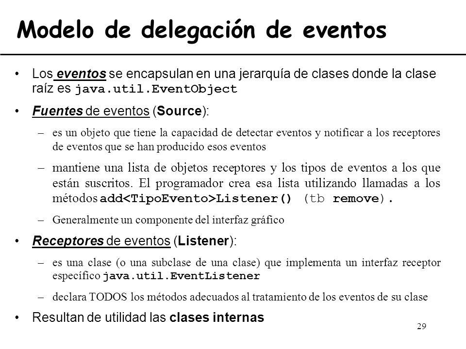 29 Modelo de delegación de eventos Los eventos se encapsulan en una jerarquía de clases donde la clase raíz es java.util.EventObject Fuentes de evento