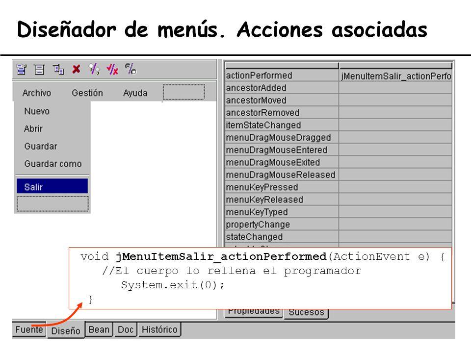 El lenguaje de programación Java38 Diseñador de menús. Acciones asociadas void jMenuItemSalir_actionPerformed(ActionEvent e) { //El cuerpo lo rellena