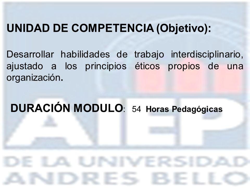 UNIDAD DE COMPETENCIA (Objetivo): Desarrollar habilidades de trabajo interdisciplinario, ajustado a los principios éticos propios de una organización.