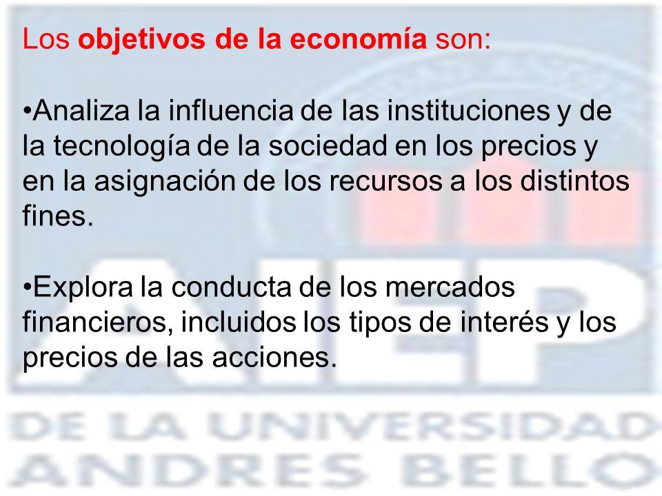 Los objetivos de la economía son: Analiza la influencia de las instituciones y de la tecnología de la sociedad en los precios y en la asignación de lo