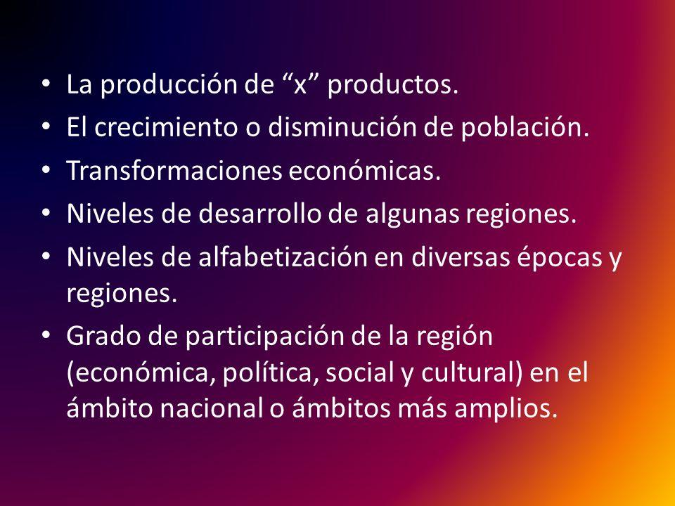 La producción de x productos.El crecimiento o disminución de población.
