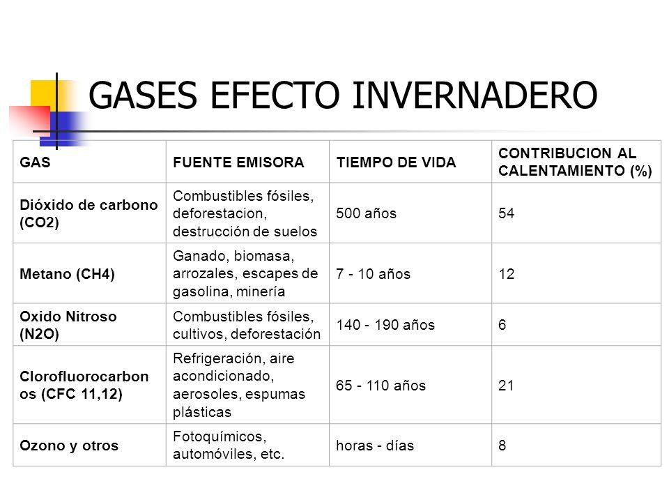 GASFUENTE EMISORATIEMPO DE VIDA CONTRIBUCION AL CALENTAMIENTO (%) Dióxido de carbono (CO2) Combustibles fósiles, deforestacion, destrucción de suelos