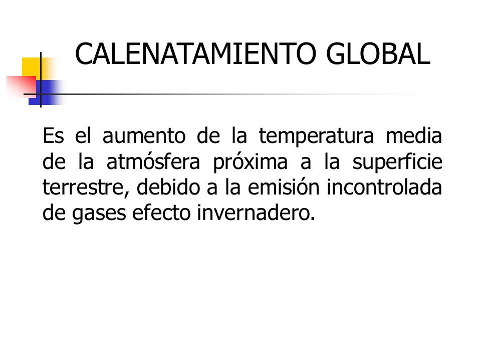 CALENATAMIENTO GLOBAL Es el aumento de la temperatura media de la atmósfera próxima a la superficie terrestre, debido a la emisión incontrolada de gas