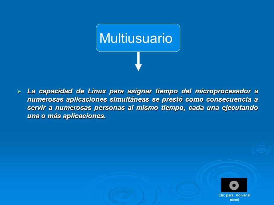 Multiusuario La capacidad de Linux para asignar tiempo del microprocesador a numerosas aplicaciones simultáneas se prestó como consecuencia a servir a
