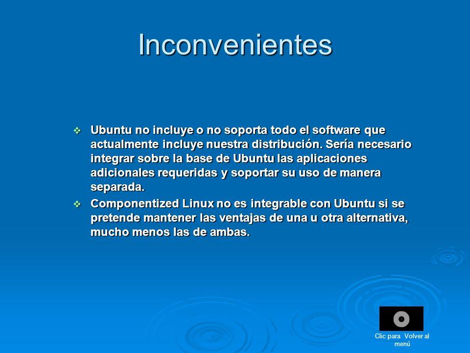 Inconvenientes Ubuntu no incluye o no soporta todo el software que actualmente incluye nuestra distribución. Sería necesario integrar sobre la base de