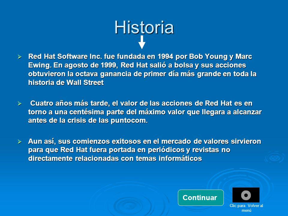 Historia Red Hat Software Inc. fue fundada en 1994 por Bob Young y Marc Ewing. En agosto de 1999, Red Hat salió a bolsa y sus acciones obtuvieron la o