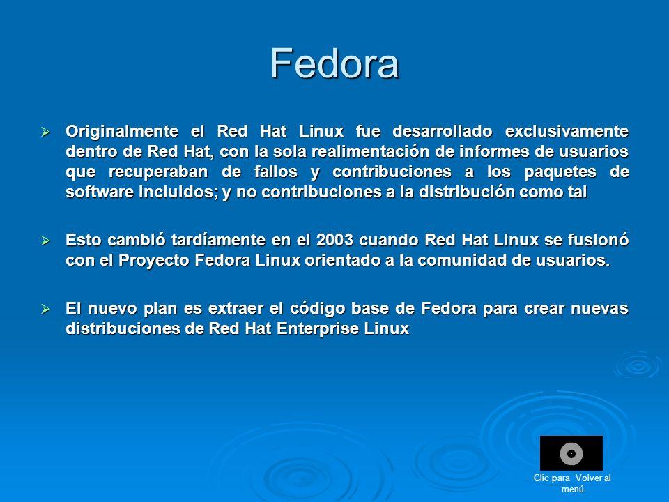 Fedora Originalmente el Red Hat Linux fue desarrollado exclusivamente dentro de Red Hat, con la sola realimentación de informes de usuarios que recupe