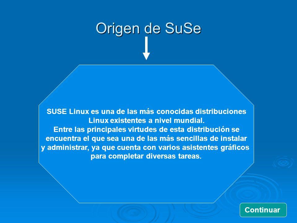 Origen de SuSe SUSE Linux es una de las más conocidas distribuciones Linux existentes a nivel mundial. Entre las principales virtudes de esta distribu