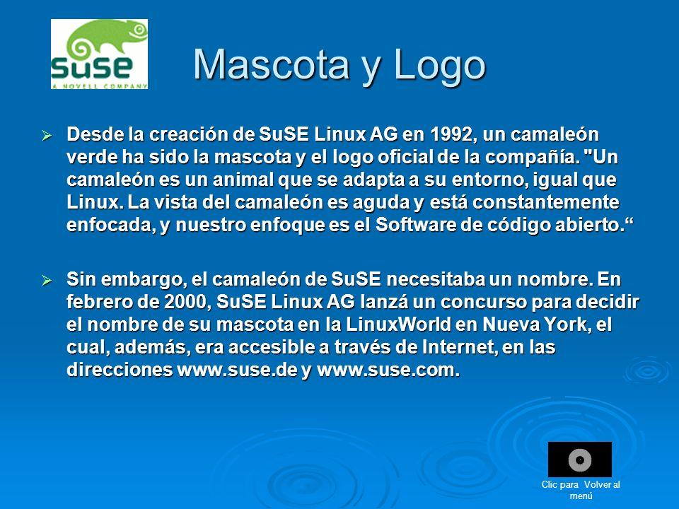 Desde la creación de SuSE Linux AG en 1992, un camaleón verde ha sido la mascota y el logo oficial de la compañía.