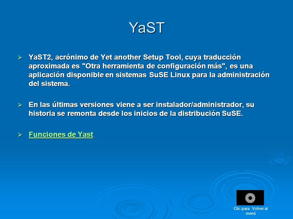 YaST YaST2, acrónimo de Yet another Setup Tool, cuya traducción aproximada es