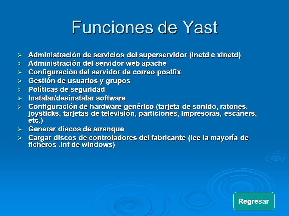 Funciones de Yast Administración de servicios del superservidor (inetd e xinetd) Administración de servicios del superservidor (inetd e xinetd) Admini