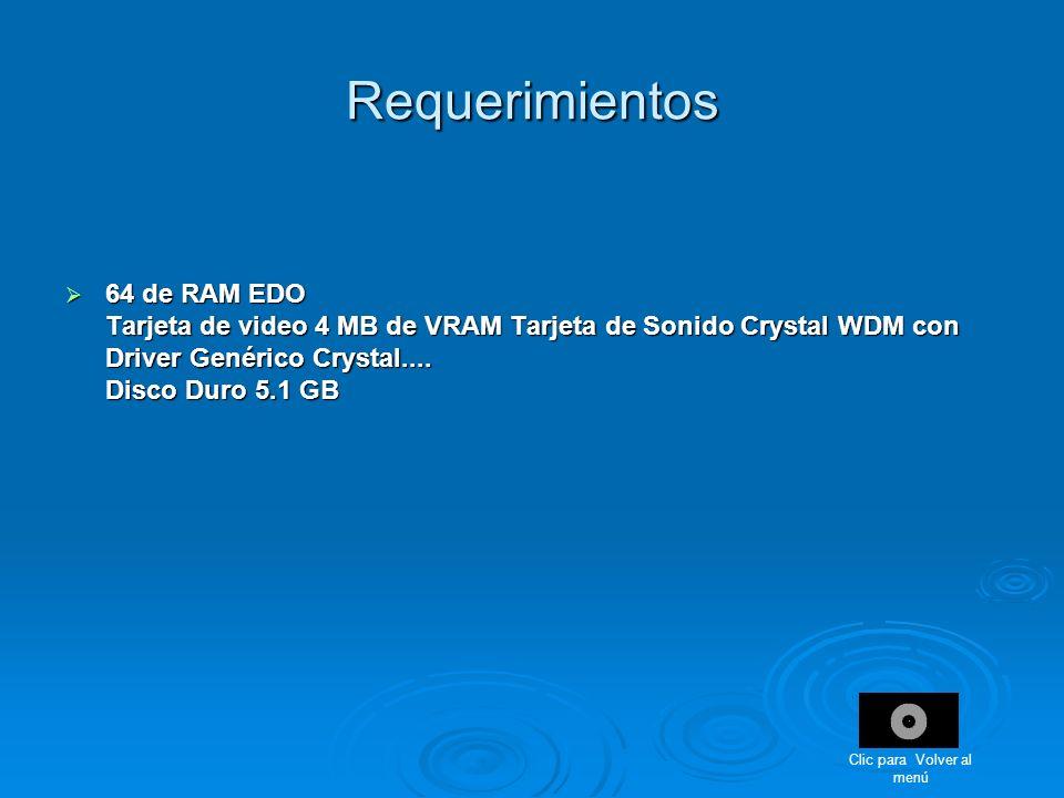 Requerimientos 64 de RAM EDO Tarjeta de video 4 MB de VRAM Tarjeta de Sonido Crystal WDM con Driver Genérico Crystal.... Disco Duro 5.1 GB 64 de RAM E
