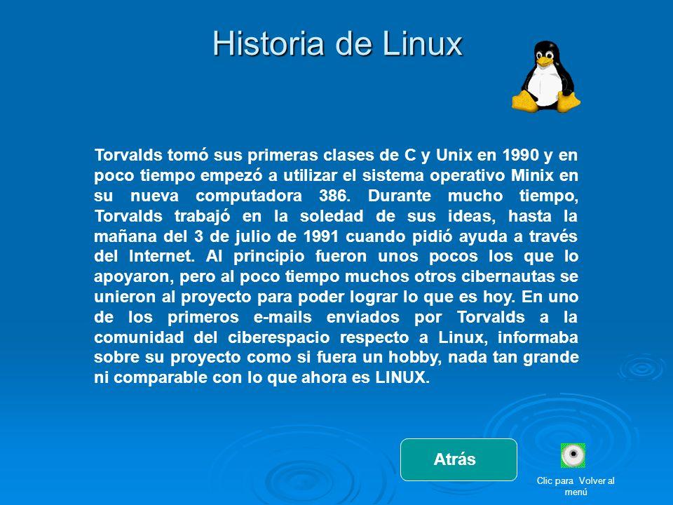 Historia de Linux Torvalds tomó sus primeras clases de C y Unix en 1990 y en poco tiempo empezó a utilizar el sistema operativo Minix en su nueva comp