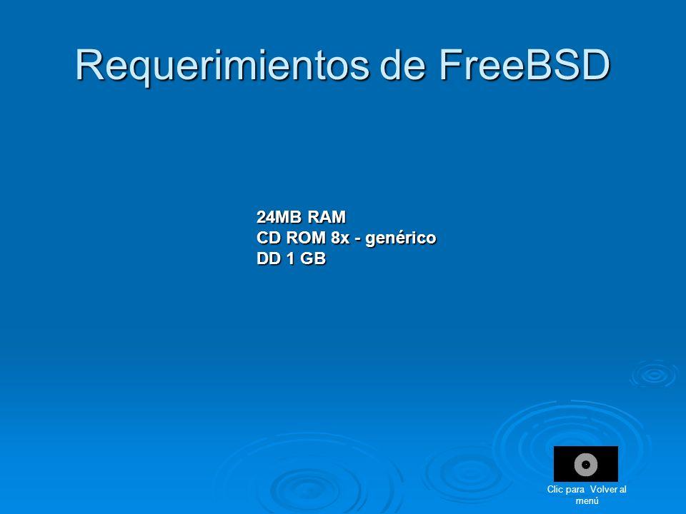 Requerimientos de FreeBSD 24MB RAM CD ROM 8x - genérico DD 1 GB Clic para Volver al menú