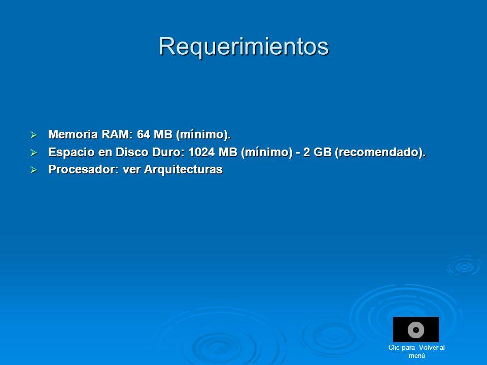 Requerimientos Memoria RAM: 64 MB (mínimo). Memoria RAM: 64 MB (mínimo). Espacio en Disco Duro: 1024 MB (mínimo) - 2 GB (recomendado). Espacio en Disc