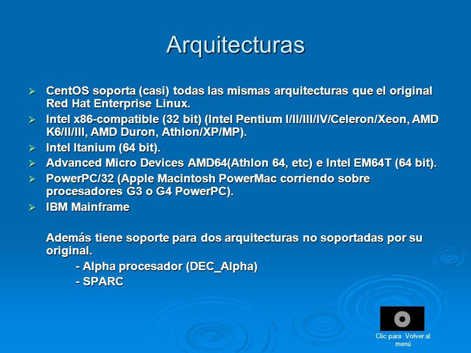 Arquitecturas CentOS soporta (casi) todas las mismas arquitecturas que el original Red Hat Enterprise Linux. CentOS soporta (casi) todas las mismas ar