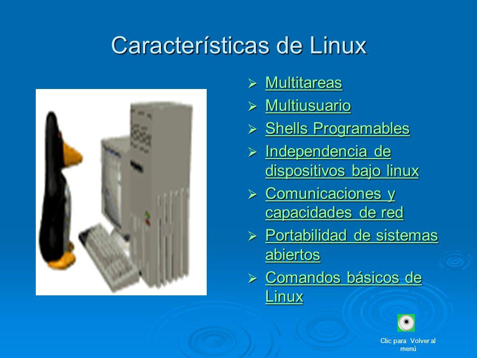 Características de Linux Multitareas Multitareas Multitareas Multiusuario Multiusuario Multiusuario Shells Programables Shells Programables Shells Pro