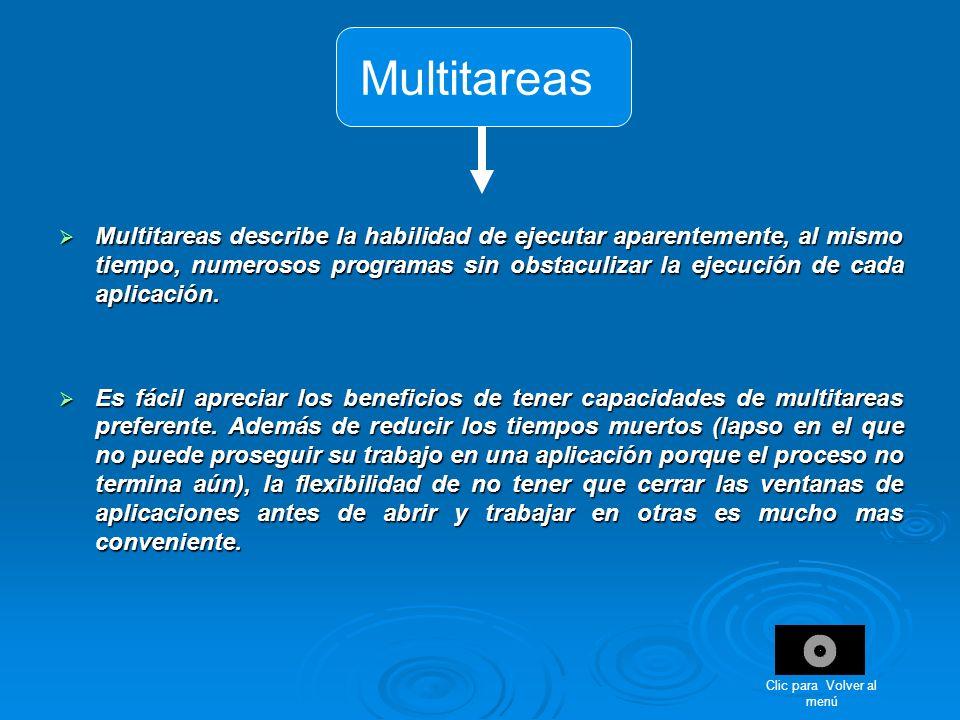 Multitareas Multitareas describe la habilidad de ejecutar aparentemente, al mismo tiempo, numerosos programas sin obstaculizar la ejecución de cada ap