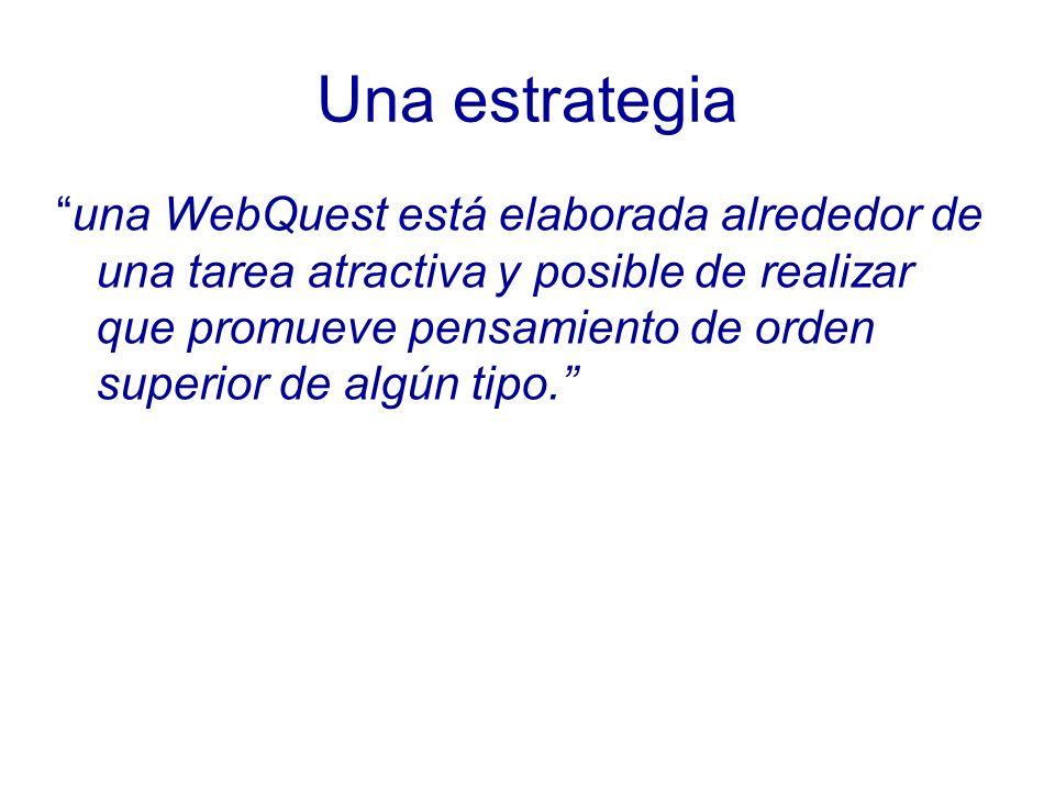 Una estrategia una WebQuest está elaborada alrededor de una tarea atractiva y posible de realizar que promueve pensamiento de orden superior de algún