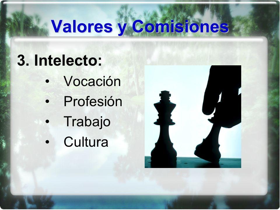 Valores y Comisiones 3. Intelecto: Vocación Profesión Trabajo Cultura