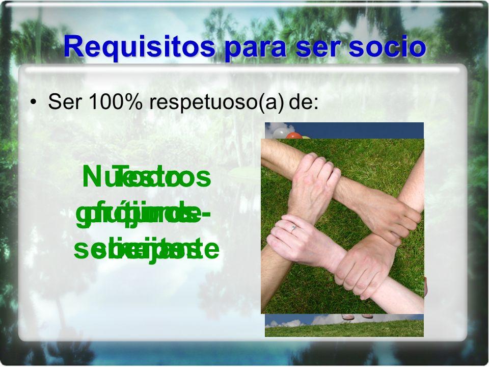 Requisitos para ser socio Ser 100% respetuoso(a) de: Nuestro grupo de socios Nuestros futuros clientes Todo prójimo - semejante