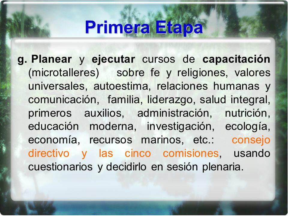 Primera Etapa g. Planear y ejecutar cursos de capacitación (microtalleres) sobre fe y religiones, valores universales, autoestima, relaciones humanas