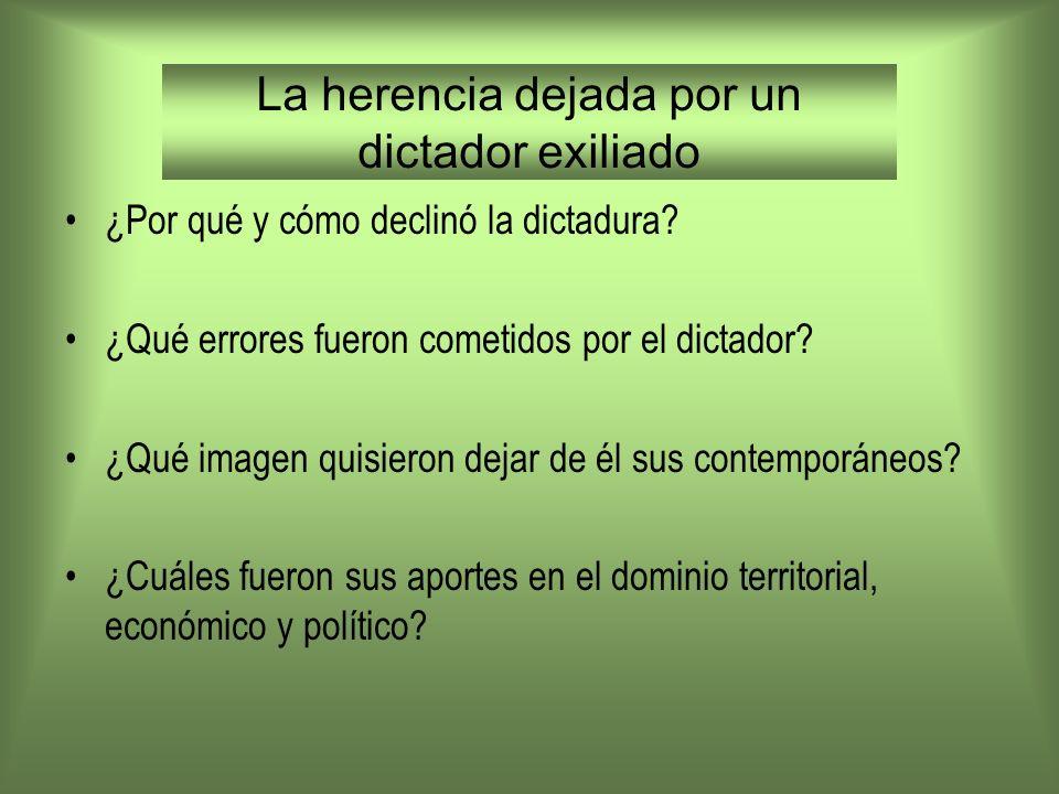 La herencia dejada por un dictador exiliado ¿Por qué y cómo declinó la dictadura? ¿Qué errores fueron cometidos por el dictador? ¿Qué imagen quisieron